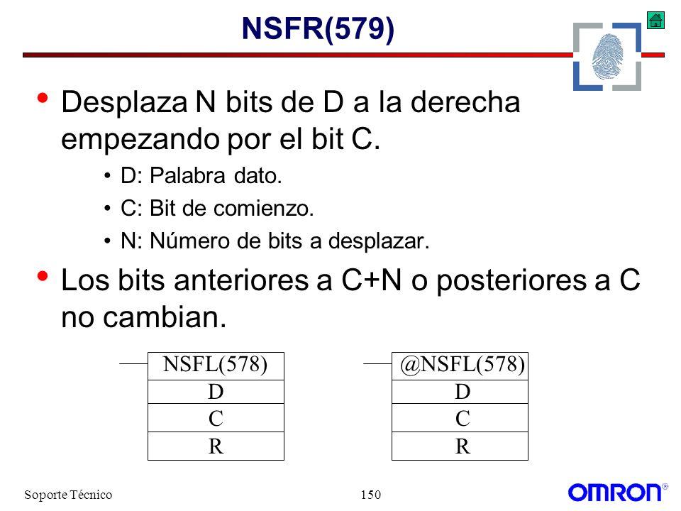 Soporte Técnico150 NSFR(579) Desplaza N bits de D a la derecha empezando por el bit C. D: Palabra dato. C: Bit de comienzo. N: Número de bits a despla
