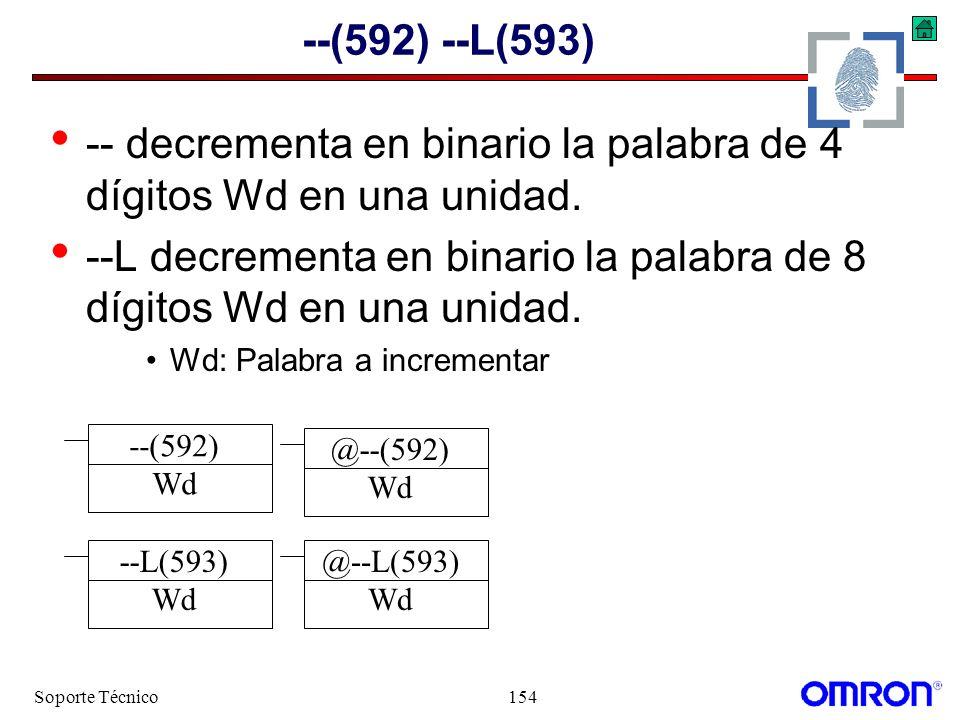 Soporte Técnico154 --(592) --L(593) -- decrementa en binario la palabra de 4 dígitos Wd en una unidad. --L decrementa en binario la palabra de 8 dígit