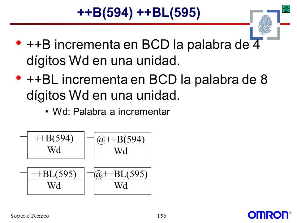 Soporte Técnico156 ++B(594) ++BL(595) ++B incrementa en BCD la palabra de 4 dígitos Wd en una unidad. ++BL incrementa en BCD la palabra de 8 dígitos W