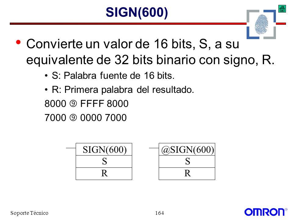 Soporte Técnico164 SIGN(600) Convierte un valor de 16 bits, S, a su equivalente de 32 bits binario con signo, R. S: Palabra fuente de 16 bits. R: Prim
