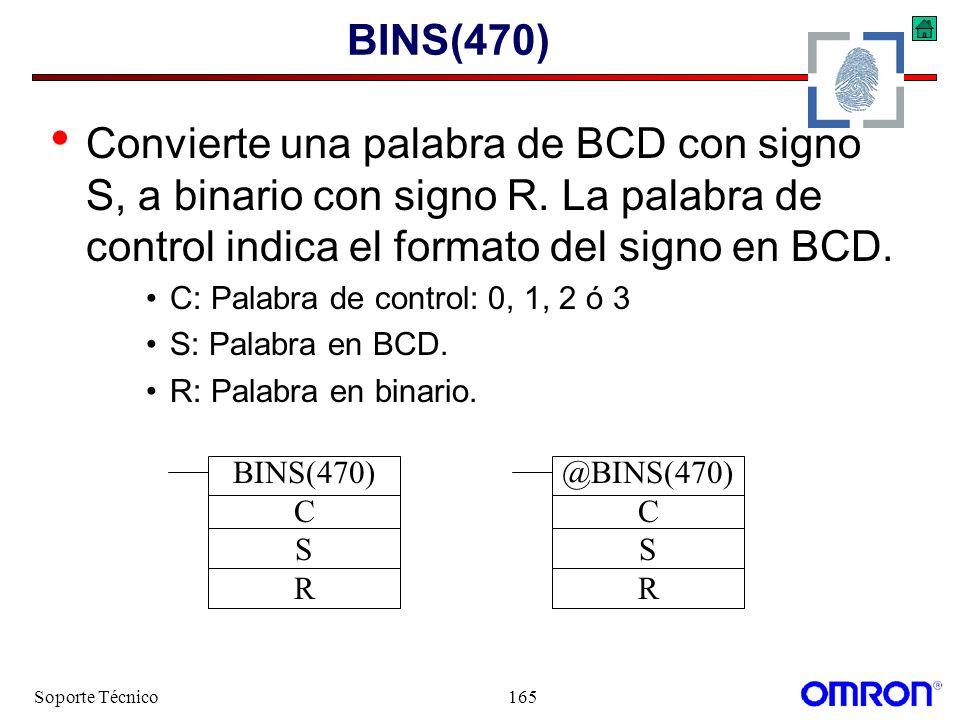 Soporte Técnico165 BINS(470) Convierte una palabra de BCD con signo S, a binario con signo R. La palabra de control indica el formato del signo en BCD