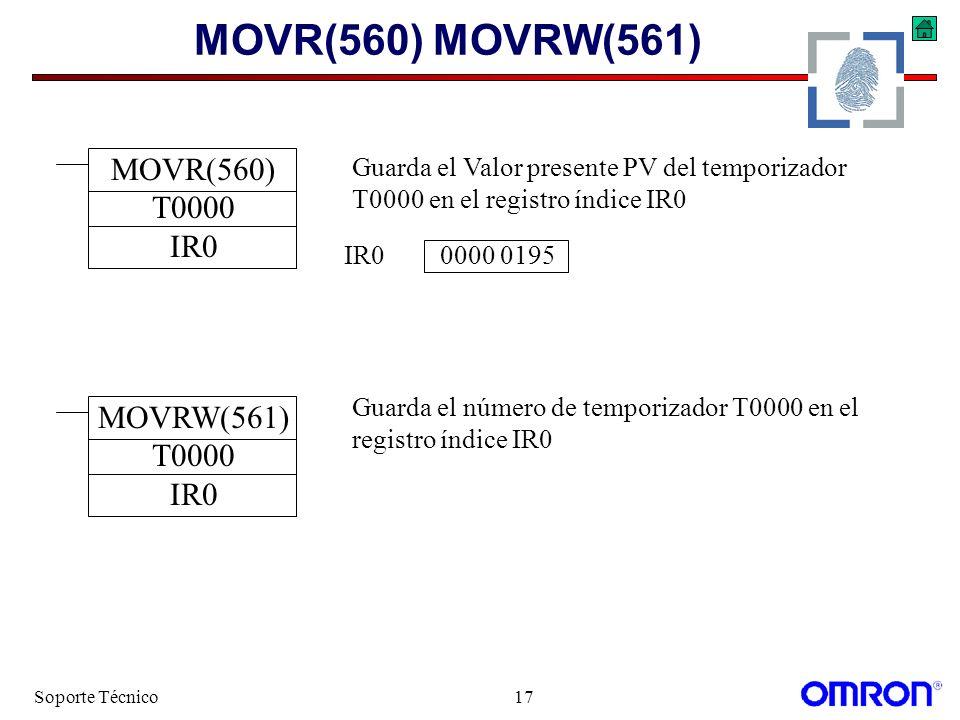 Soporte Técnico17 MOVR(560) MOVRW(561) MOVR(560) T0000 IR0 MOVRW(561) T0000 IR0 Guarda el Valor presente PV del temporizador T0000 en el registro índi