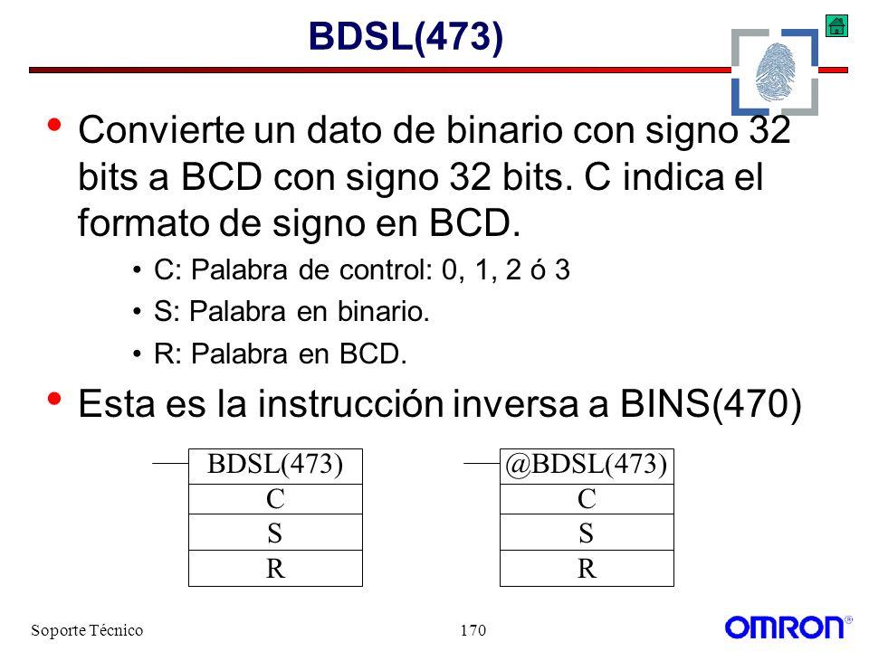Soporte Técnico170 BDSL(473) Convierte un dato de binario con signo 32 bits a BCD con signo 32 bits. C indica el formato de signo en BCD. C: Palabra d
