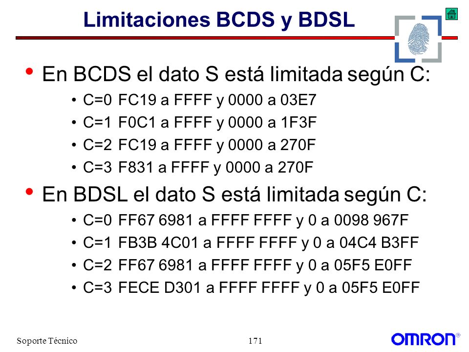Soporte Técnico171 Limitaciones BCDS y BDSL En BCDS el dato S está limitada según C: C=0FC19 a FFFF y 0000 a 03E7 C=1F0C1 a FFFF y 0000 a 1F3F C=2FC19