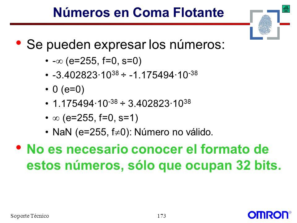 Soporte Técnico173 Números en Coma Flotante Se pueden expresar los números: - (e=255, f=0, s=0) -3.402823·10 38 ÷ -1.175494·10 -38 0 (e=0) 1.175494·10