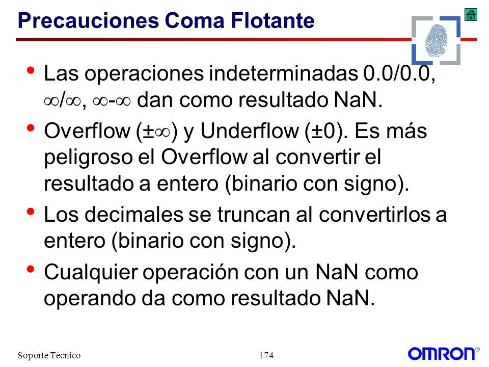 Soporte Técnico174 Precauciones Coma Flotante Las operaciones indeterminadas 0.0/0.0, /, - dan como resultado NaN. Overflow (± ) y Underflow (±0). Es