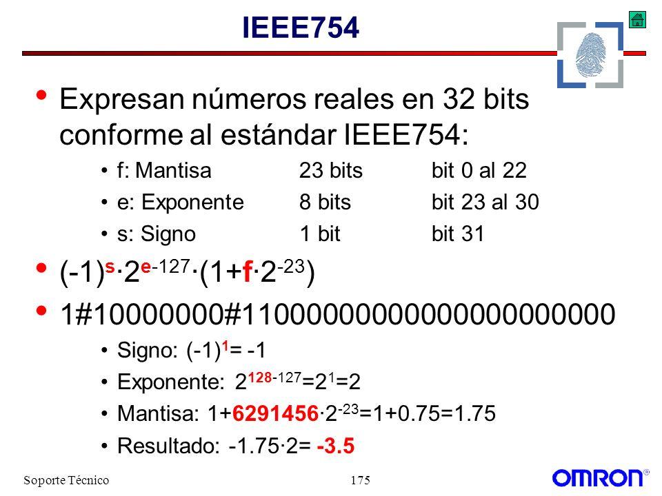 Soporte Técnico175 IEEE754 Expresan números reales en 32 bits conforme al estándar IEEE754: f: Mantisa23 bitsbit 0 al 22 e: Exponente8 bitsbit 23 al 3