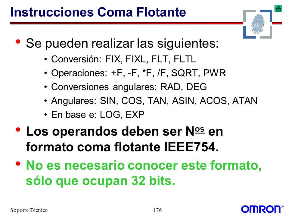 Soporte Técnico176 Instrucciones Coma Flotante Se pueden realizar las siguientes: Conversión: FIX, FIXL, FLT, FLTL Operaciones: +F, -F, *F, /F, SQRT,