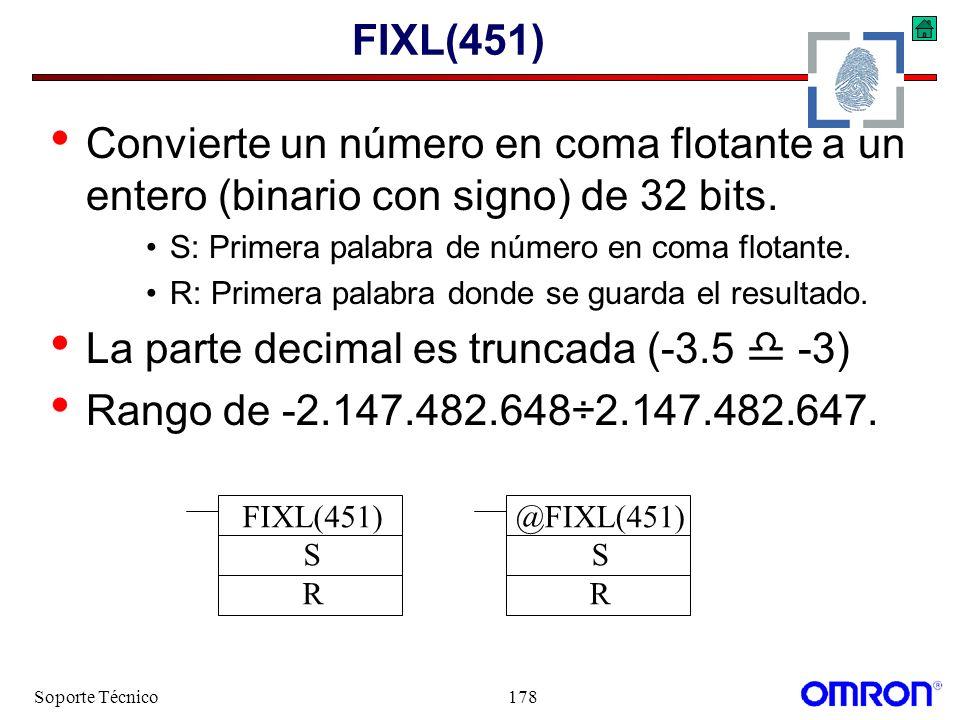 Soporte Técnico178 FIXL(451) Convierte un número en coma flotante a un entero (binario con signo) de 32 bits. S: Primera palabra de número en coma flo
