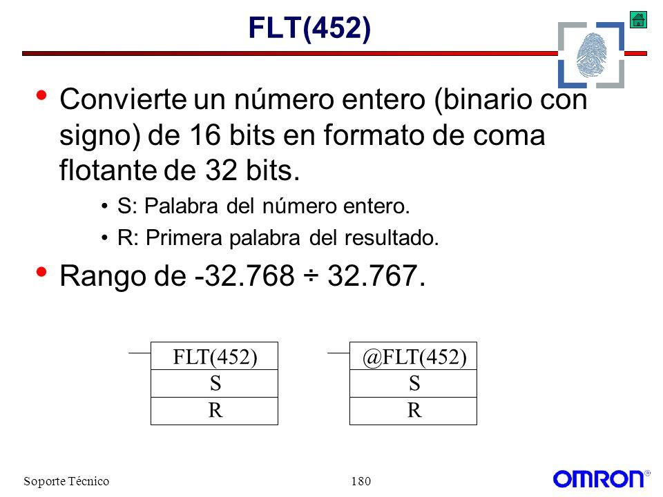Soporte Técnico180 FLT(452) Convierte un número entero (binario con signo) de 16 bits en formato de coma flotante de 32 bits. S: Palabra del número en