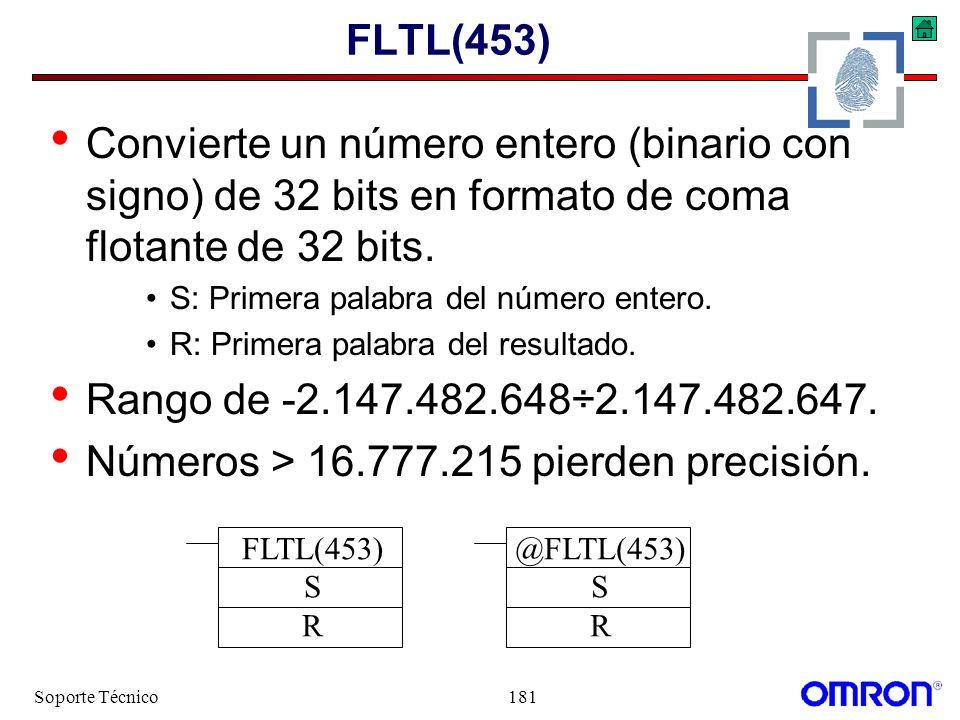 Soporte Técnico181 FLTL(453) Convierte un número entero (binario con signo) de 32 bits en formato de coma flotante de 32 bits. S: Primera palabra del