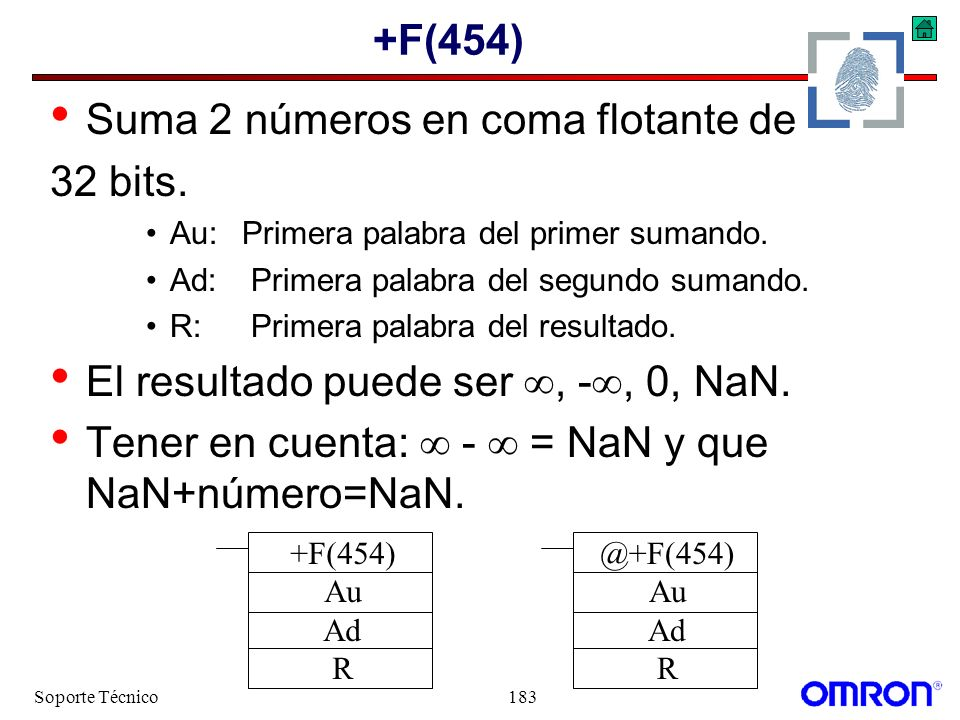 Soporte Técnico183 +F(454) Suma 2 números en coma flotante de 32 bits. Au:Primera palabra del primer sumando. Ad: Primera palabra del segundo sumando.