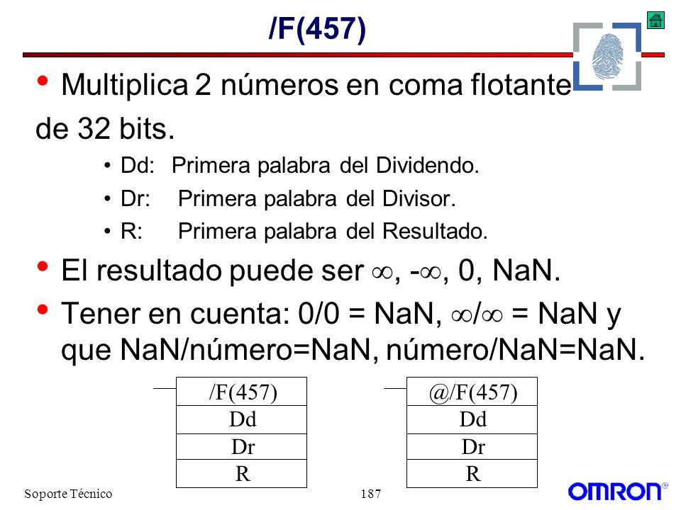 Soporte Técnico187 /F(457) Multiplica 2 números en coma flotante de 32 bits. Dd:Primera palabra del Dividendo. Dr: Primera palabra del Divisor. R: Pri