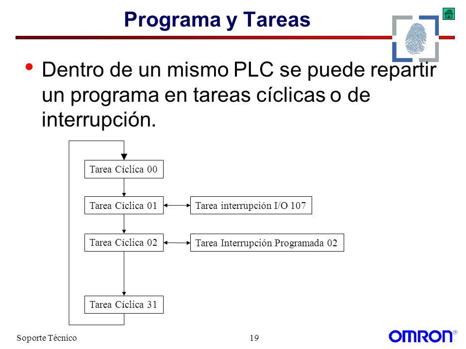 Soporte Técnico19 Programa y Tareas Dentro de un mismo PLC se puede repartir un programa en tareas cíclicas o de interrupción. Tarea Cíclica 31 Tarea