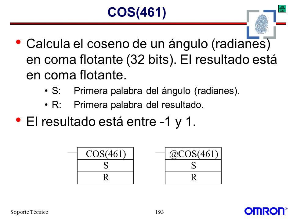 Soporte Técnico193 COS(461) Calcula el coseno de un ángulo (radianes) en coma flotante (32 bits). El resultado está en coma flotante. S:Primera palabr