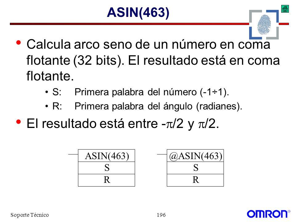 Soporte Técnico196 ASIN(463) Calcula arco seno de un número en coma flotante (32 bits). El resultado está en coma flotante. S:Primera palabra del núme