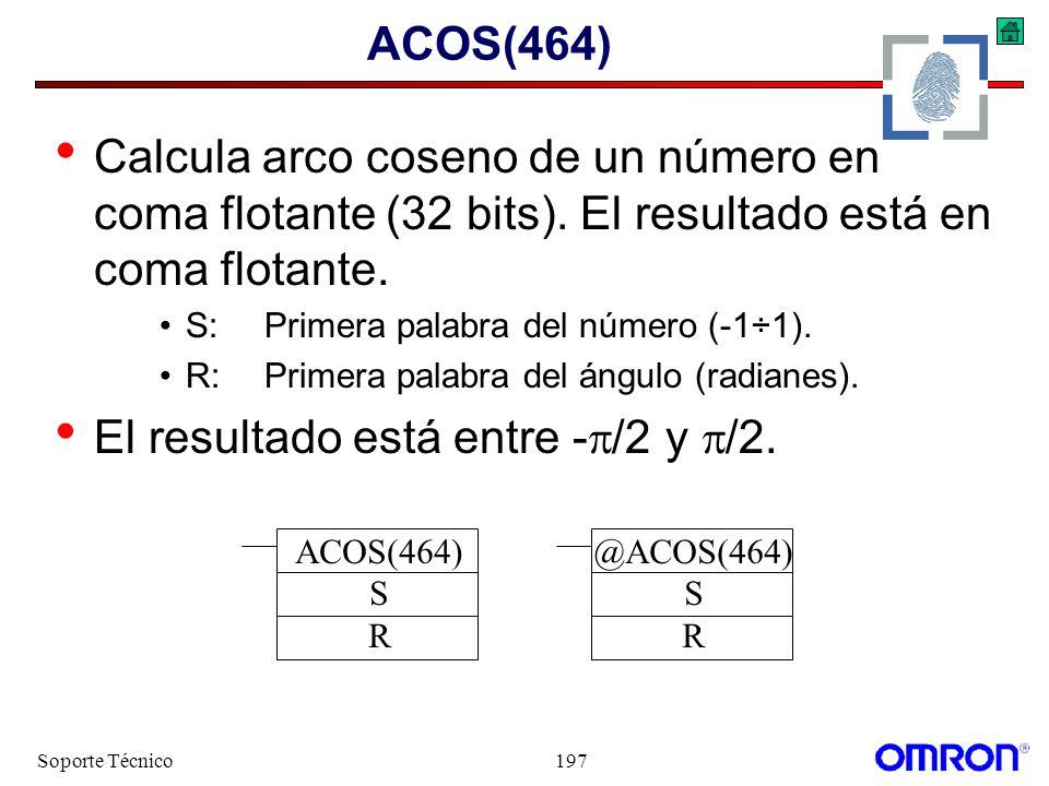 Soporte Técnico197 ACOS(464) Calcula arco coseno de un número en coma flotante (32 bits). El resultado está en coma flotante. S:Primera palabra del nú