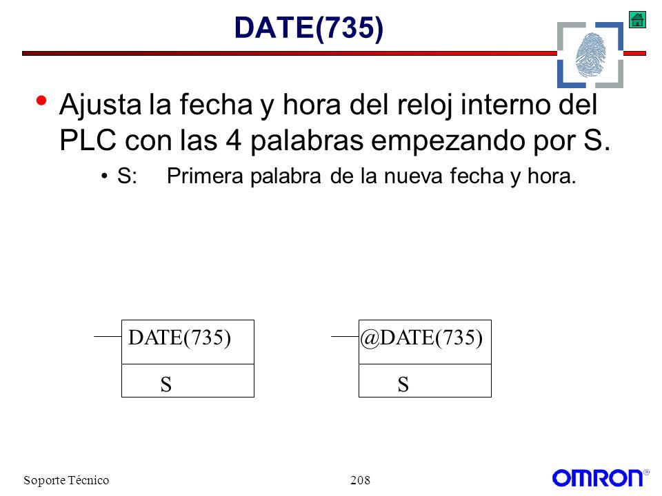 Soporte Técnico208 DATE(735) Ajusta la fecha y hora del reloj interno del PLC con las 4 palabras empezando por S. S:Primera palabra de la nueva fecha