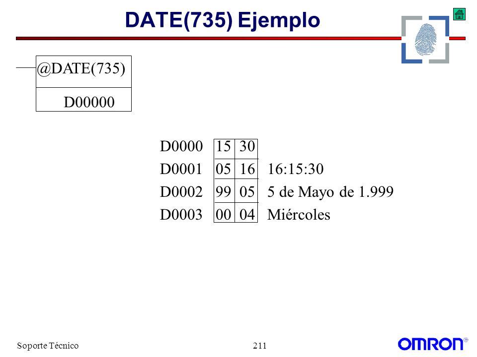Soporte Técnico211 DATE(735) Ejemplo @DATE(735) D00000 D0000 15 30 D0001 05 16 16:15:30 D0002 99 05 5 de Mayo de 1.999 D0003 00 04 Miércoles