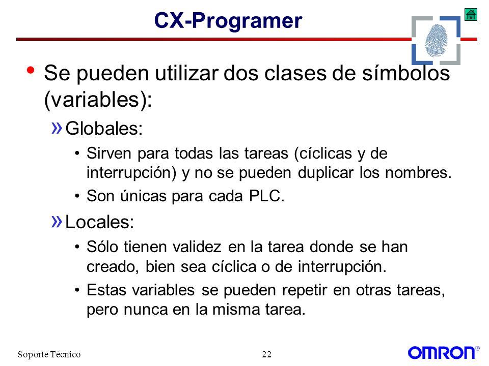 Soporte Técnico22 CX-Programer Se pueden utilizar dos clases de símbolos (variables): » Globales: Sirven para todas las tareas (cíclicas y de interrup