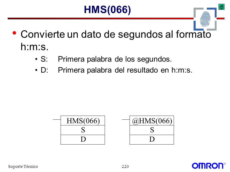 Soporte Técnico220 HMS(066) Convierte un dato de segundos al formato h:m:s. S:Primera palabra de los segundos. D:Primera palabra del resultado en h:m:
