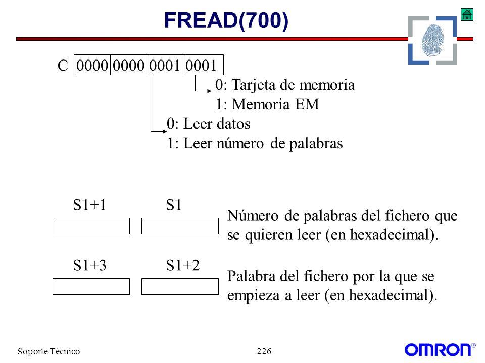 Soporte Técnico226 FREAD(700) C 0000 0000 0001 0001 0: Tarjeta de memoria 1: Memoria EM 0: Leer datos 1: Leer número de palabras S1+3S1+2 Palabra del