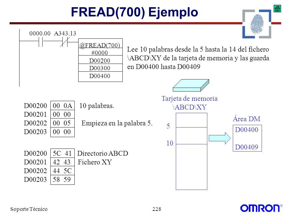 Soporte Técnico228 FREAD(700) Ejemplo @FREAD(700) #0000 D00200 D00300 D00400 0000.00A343.13 Lee 10 palabras desde la 5 hasta la 14 del fichero \ABCD\X
