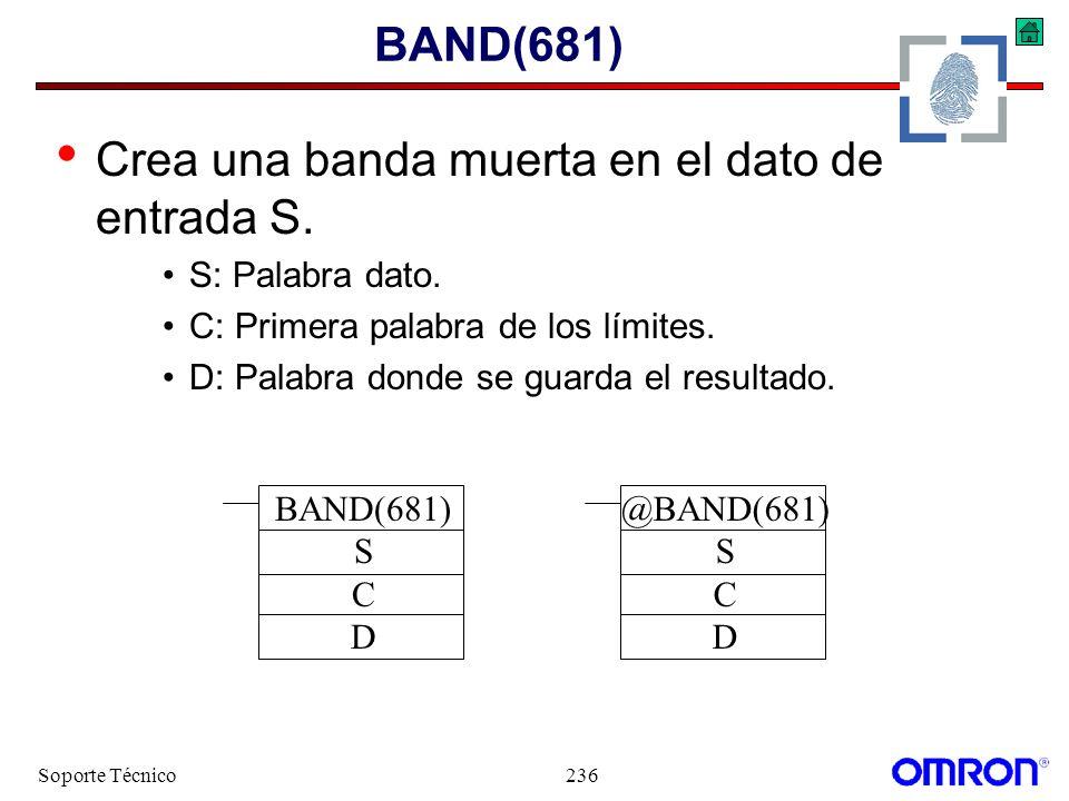 Soporte Técnico236 BAND(681) Crea una banda muerta en el dato de entrada S. S: Palabra dato. C: Primera palabra de los límites. D: Palabra donde se gu