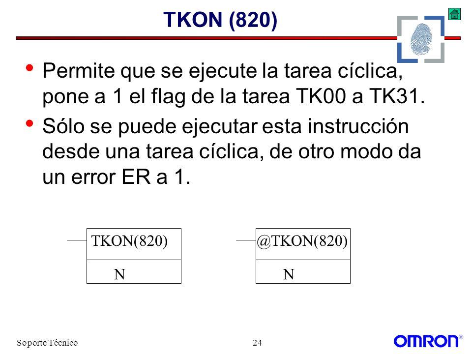 Soporte Técnico24 TKON (820) Permite que se ejecute la tarea cíclica, pone a 1 el flag de la tarea TK00 a TK31. Sólo se puede ejecutar esta instrucció