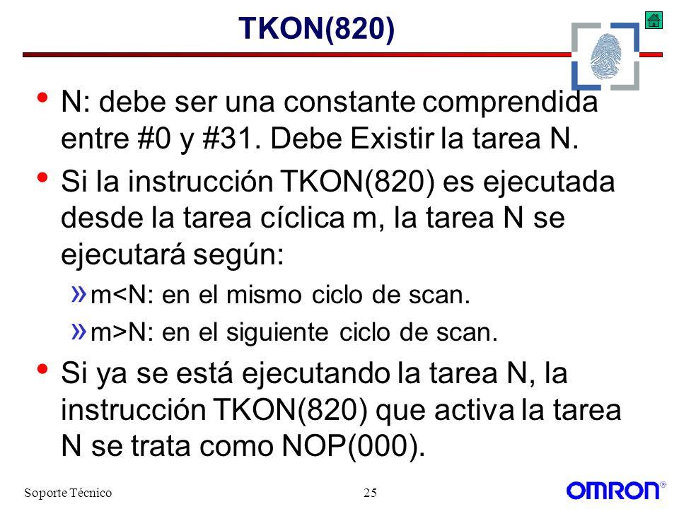Soporte Técnico25 TKON(820) N: debe ser una constante comprendida entre #0 y #31. Debe Existir la tarea N. Si la instrucción TKON(820) es ejecutada de