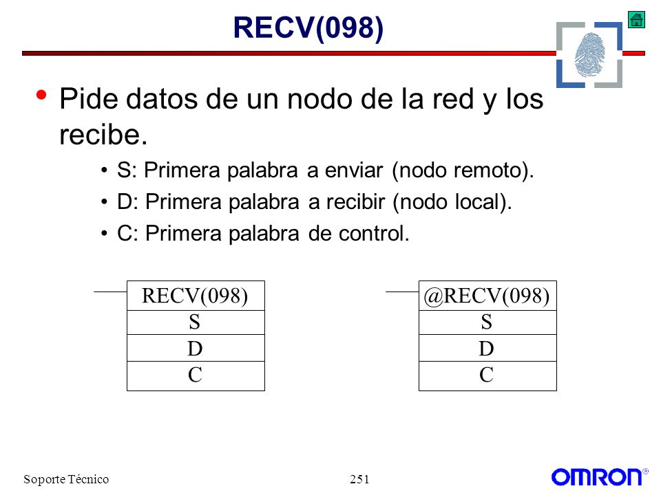 Soporte Técnico251 RECV(098) Pide datos de un nodo de la red y los recibe. S: Primera palabra a enviar (nodo remoto). D: Primera palabra a recibir (no