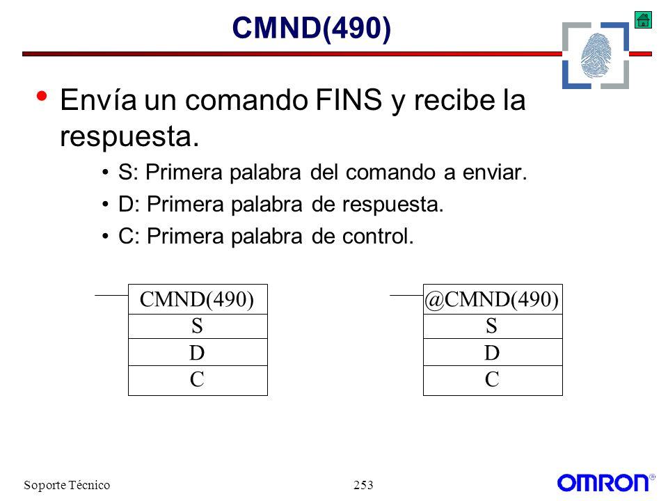 Soporte Técnico253 CMND(490) Envía un comando FINS y recibe la respuesta. S: Primera palabra del comando a enviar. D: Primera palabra de respuesta. C: