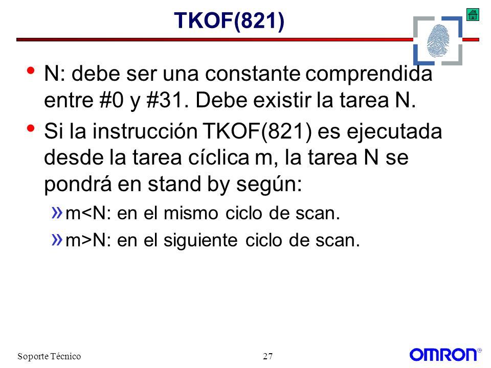 Soporte Técnico27 TKOF(821) N: debe ser una constante comprendida entre #0 y #31. Debe existir la tarea N. Si la instrucción TKOF(821) es ejecutada de