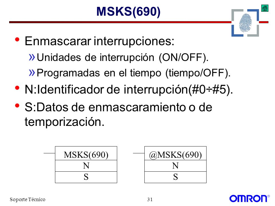 Soporte Técnico31 MSKS(690) Enmascarar interrupciones: » Unidades de interrupción (ON/OFF). » Programadas en el tiempo (tiempo/OFF). N:Identificador d