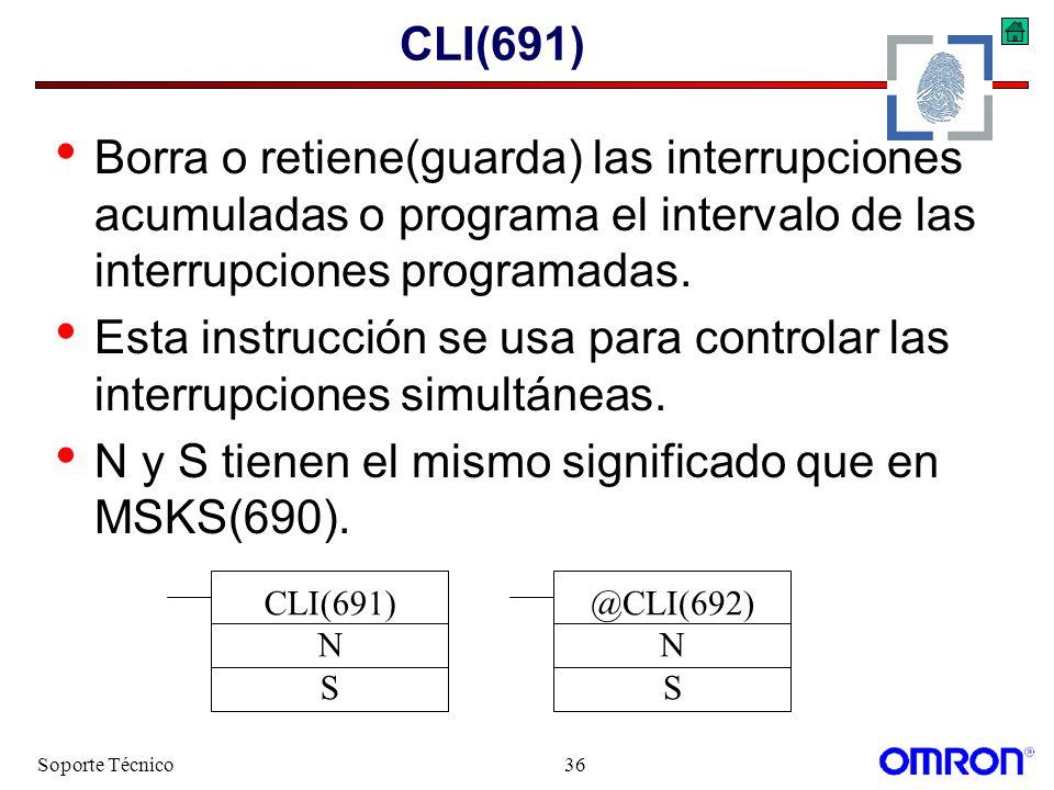 Soporte Técnico36 CLI(691) Borra o retiene(guarda) las interrupciones acumuladas o programa el intervalo de las interrupciones programadas. Esta instr
