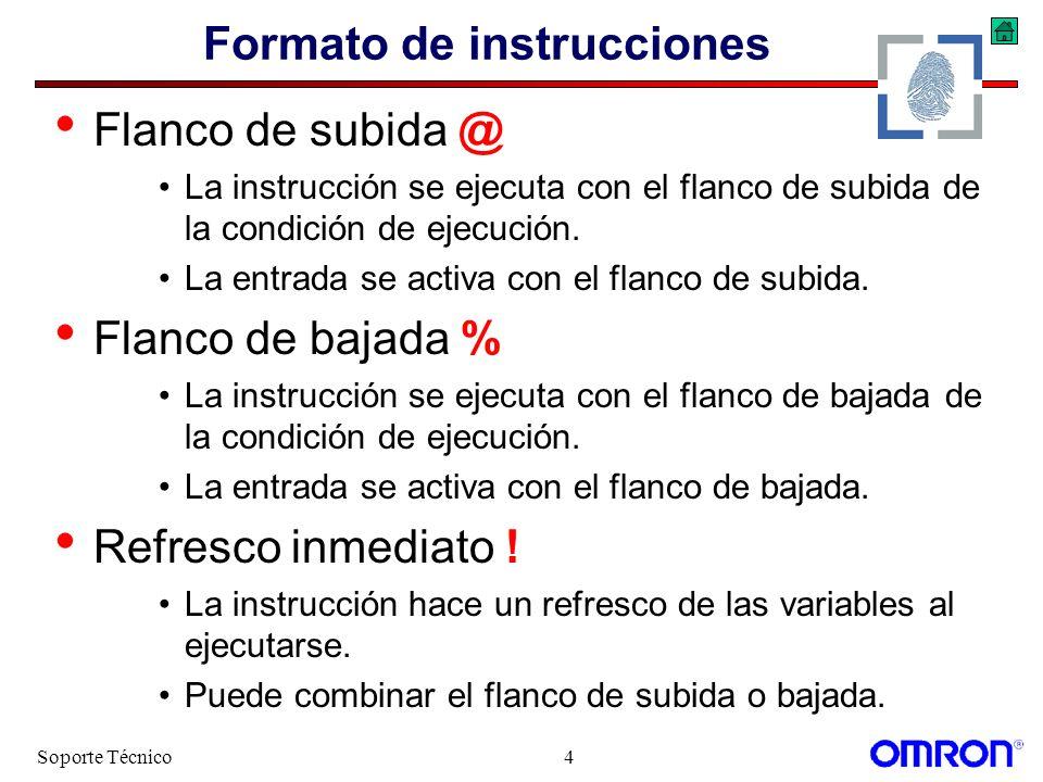 Soporte Técnico4 Formato de instrucciones Flanco de subida @ La instrucción se ejecuta con el flanco de subida de la condición de ejecución. La entrad