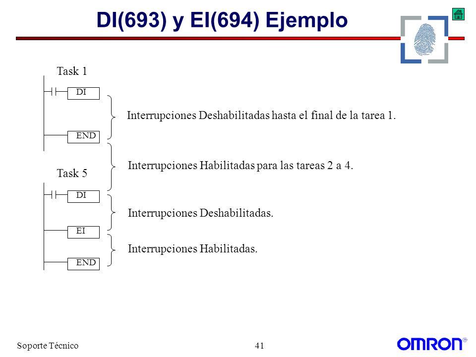 Soporte Técnico41 DI(693) y EI(694) Ejemplo DI EI DI END Task 1 Task 5 Interrupciones Deshabilitadas hasta el final de la tarea 1. Interrupciones Desh