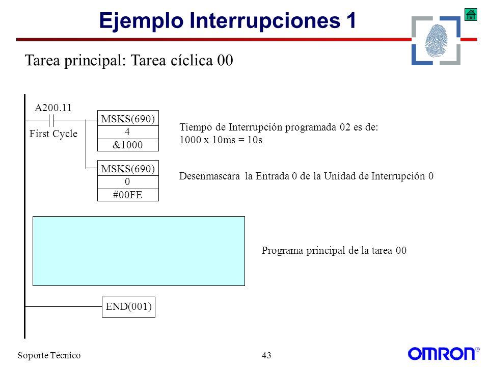 Soporte Técnico43 Ejemplo Interrupciones 1 A200.11 First Cycle MSKS(690) 0 #00FE MSKS(690) 4 &1000 Tiempo de Interrupción programada 02 es de: 1000 x