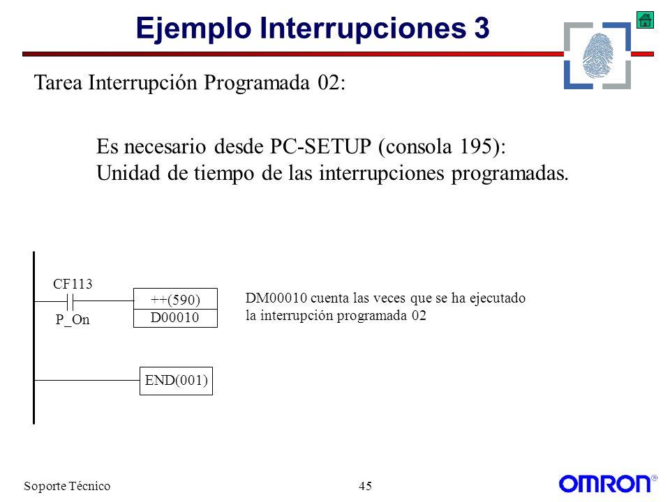 Soporte Técnico45 Ejemplo Interrupciones 3 CF113 P_On ++(590) D00010 DM00010 cuenta las veces que se ha ejecutado la interrupción programada 02 END(00