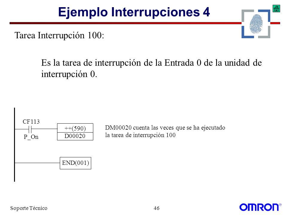 Soporte Técnico46 Ejemplo Interrupciones 4 CF113 P_On ++(590) D00020 DM00020 cuenta las veces que se ha ejecutado la tarea de interrupción 100 END(001