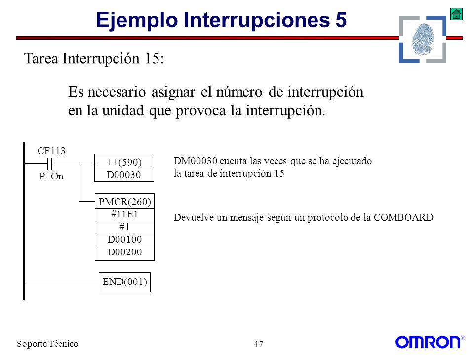 Soporte Técnico47 Ejemplo Interrupciones 5 ++(590) D00030 DM00030 cuenta las veces que se ha ejecutado la tarea de interrupción 15 END(001) Tarea Inte