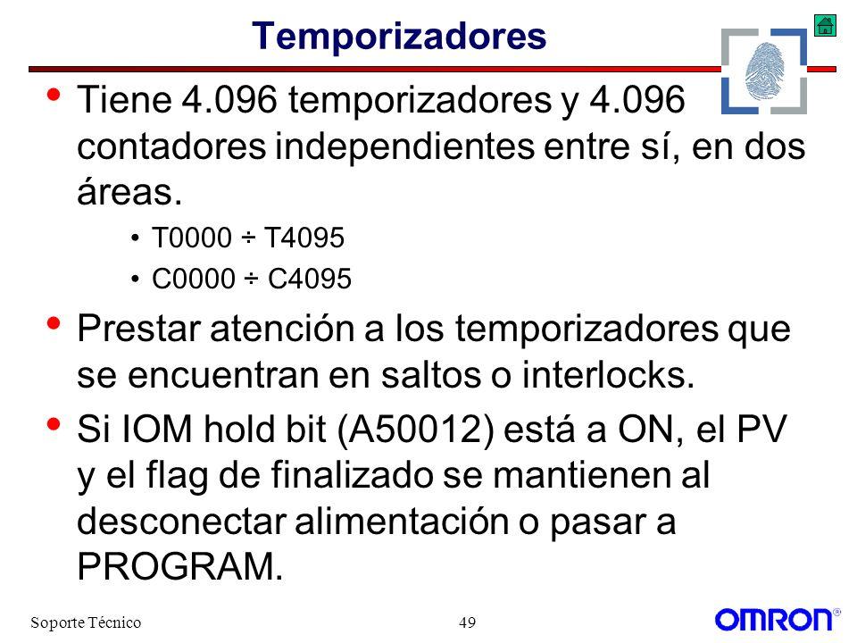 Soporte Técnico49 Temporizadores Tiene 4.096 temporizadores y 4.096 contadores independientes entre sí, en dos áreas. T0000 ÷ T4095 C0000 ÷ C4095 Pres