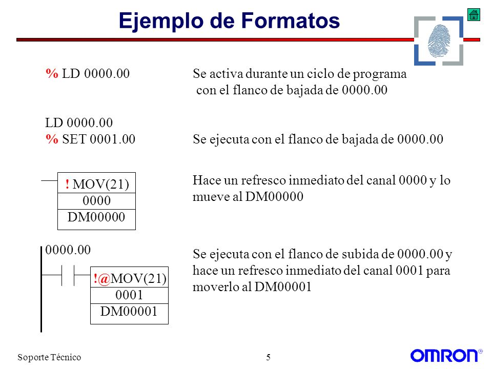 Soporte Técnico5 Ejemplo de Formatos % LD 0000.00Se activa durante un ciclo de programa con el flanco de bajada de 0000.00 LD 0000.00 % SET 0001.00Se