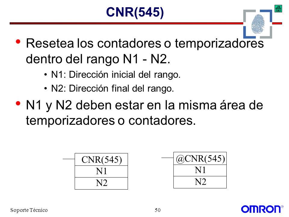 Soporte Técnico50 CNR(545) Resetea los contadores o temporizadores dentro del rango N1 - N2. N1: Dirección inicial del rango. N2: Dirección final del