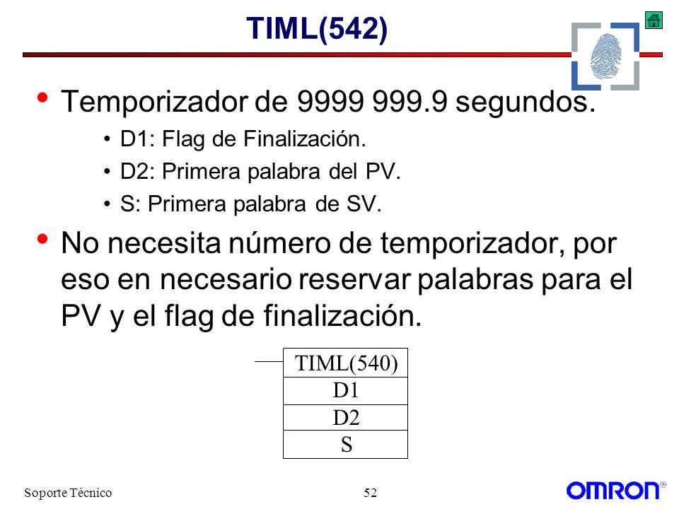 Soporte Técnico52 TIML(542) Temporizador de 9999 999.9 segundos. D1: Flag de Finalización. D2: Primera palabra del PV. S: Primera palabra de SV. No ne