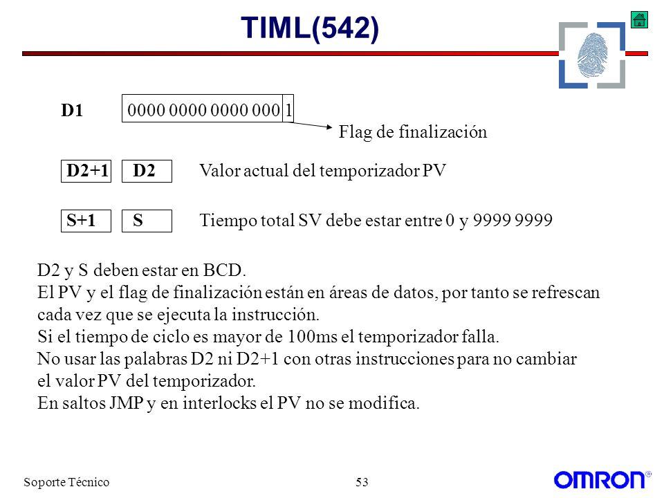 Soporte Técnico53 TIML(542) D10000 0000 0000 000 1 Flag de finalización S+1STiempo total SV debe estar entre 0 y 9999 9999 D2+1D2Valor actual del temp
