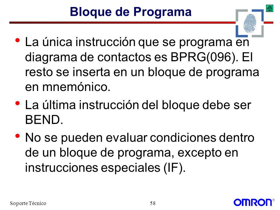 Soporte Técnico58 Bloque de Programa La única instrucción que se programa en diagrama de contactos es BPRG(096). El resto se inserta en un bloque de p