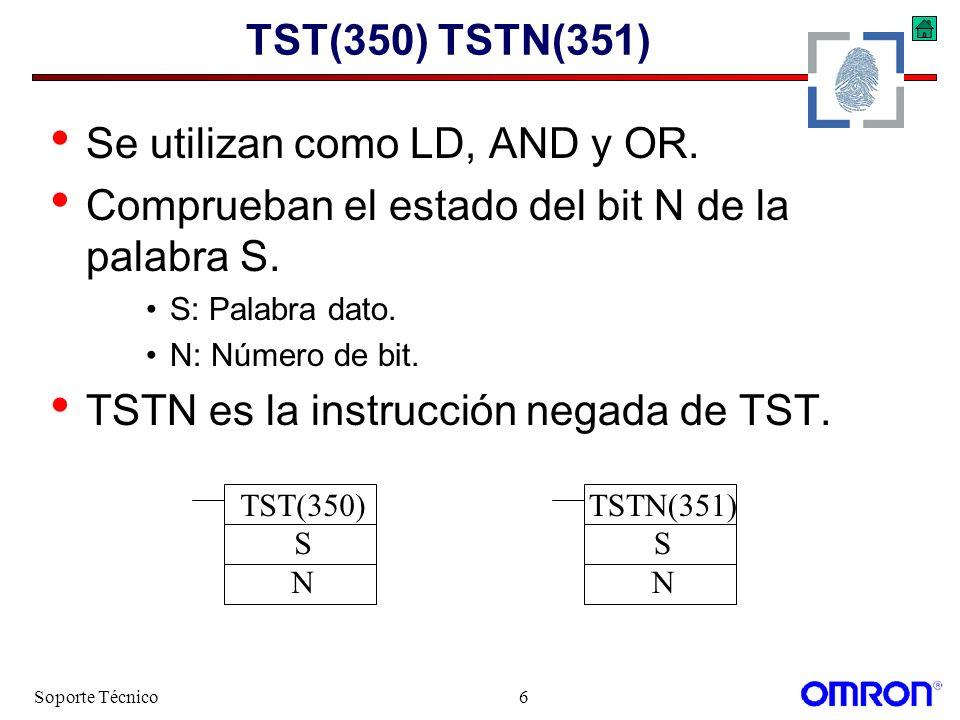 Soporte Técnico7 TST, TSTN Ejemplo TST(350) DM00000 &6 0010.04 El bit 6 del DM00000 activa la salida 0010.6 TSTN(351) DM00000 &11 0000.00 La salida 0010.04 se activa cuando la entrada 0000.00 está a 1 y el bit 11 del DM0000 está a 0.
