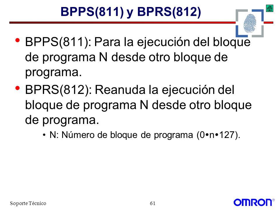 Soporte Técnico61 BPPS(811) y BPRS(812) BPPS(811): Para la ejecución del bloque de programa N desde otro bloque de programa. BPRS(812): Reanuda la eje
