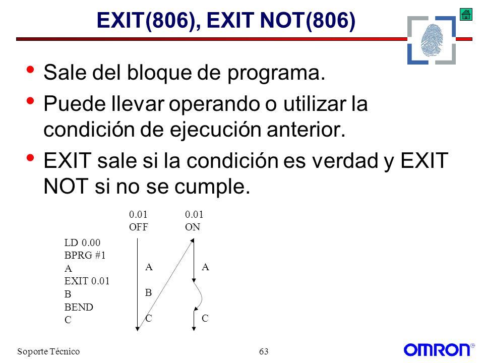 Soporte Técnico63 EXIT(806), EXIT NOT(806) Sale del bloque de programa. Puede llevar operando o utilizar la condición de ejecución anterior. EXIT sale
